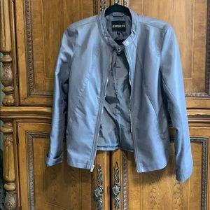Express Grey Faux Leather Moto Jacket